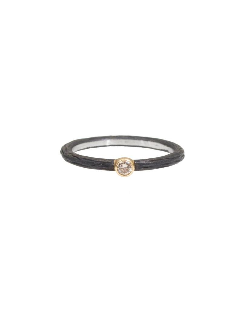 Pebble Stacking Ring with .05ct Cognac Diamond in Steel and 18k Yellow Gold
