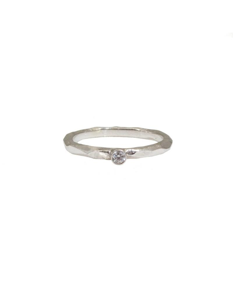 Rogue River Stacking Ring with White Diamond in 18k White Gold