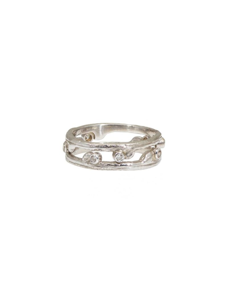 Hemp Stacking Ring with .08ctw Cognac and White Diamonds in 18k White Gold