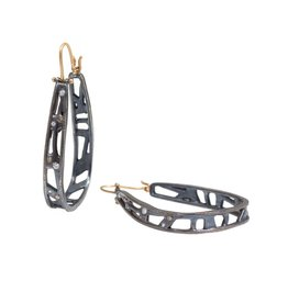 Narrow Moth Hoops with Diamonds in Oxidized Silver and 18k Yellow Gold Wires