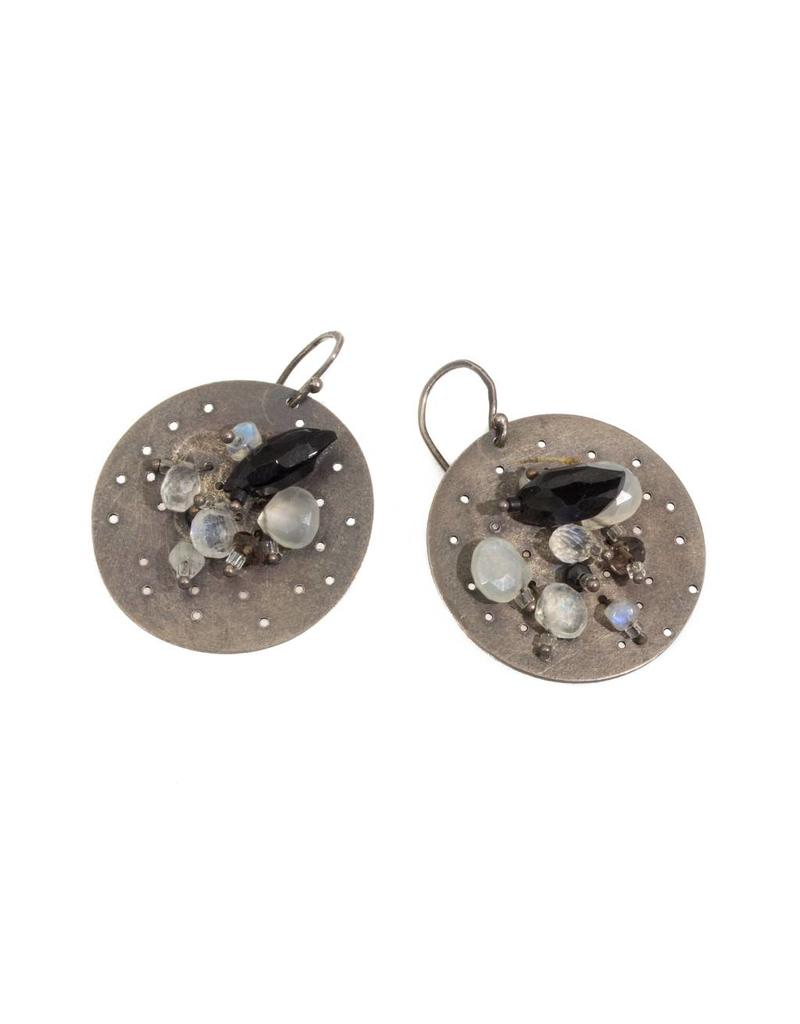Circle Punched Earrings with Moonstones and Onyx in Oxidized Silver