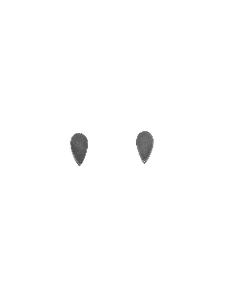 Teardrop Post Earrings in Oxidized  Silver