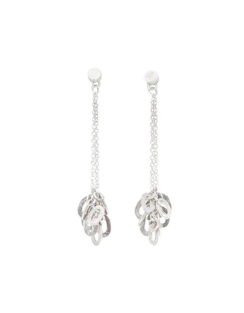 Small Oval Cluster Earrings in Silver