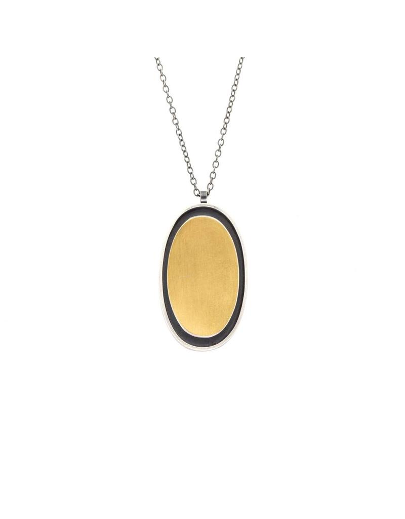 Oval Necklace in Oxidized Silver & 22k Gold