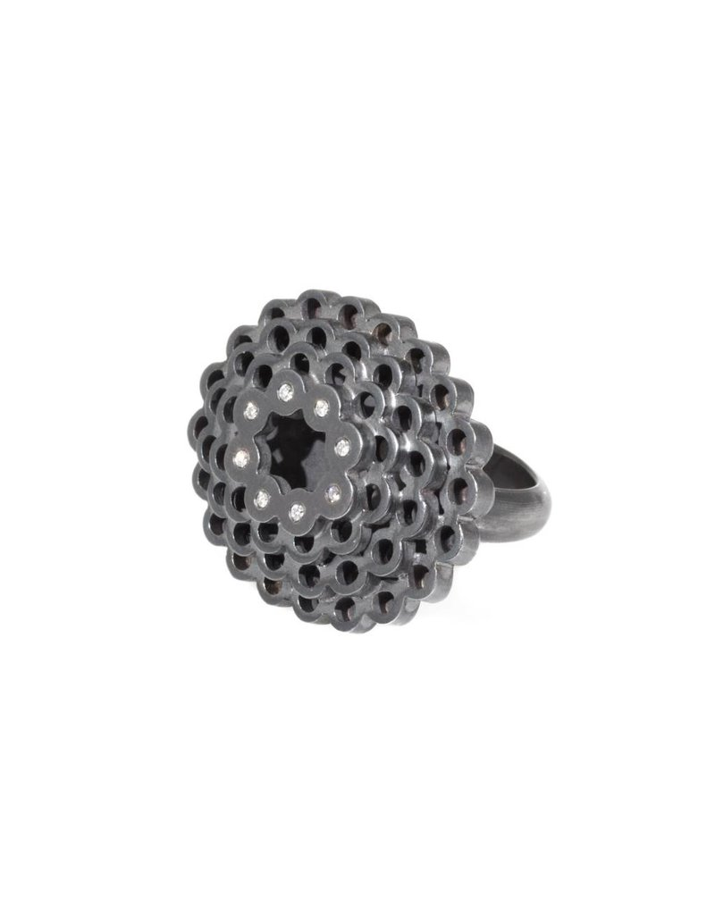 Oval Ring in Oxidized Silver with Diamonds