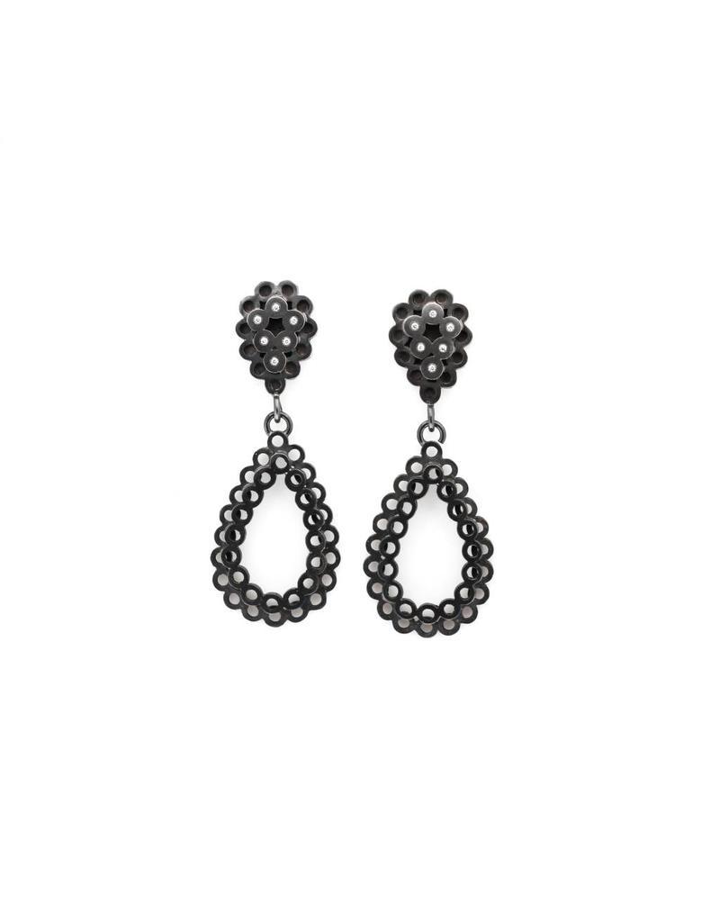 Stacked Teardrop Post Earrings in Oxidized Silver with Diamonds