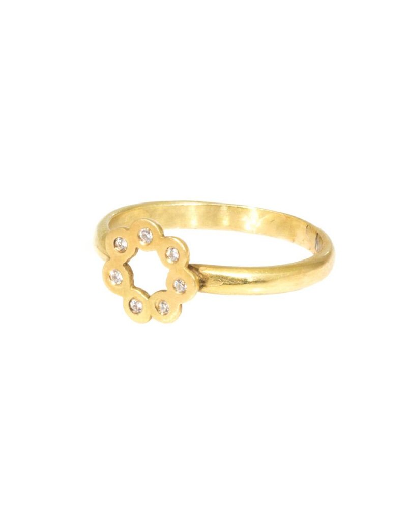 Flower Ring in 18k Yellow Gold with Diamonds