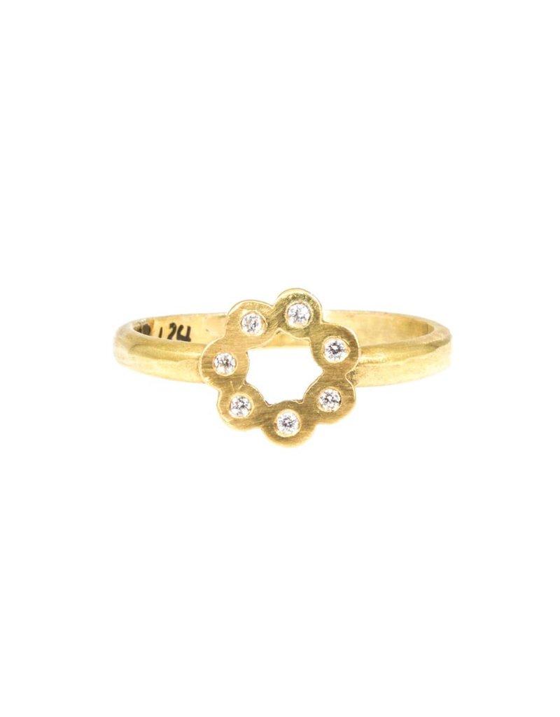 7 Diamond Flower Ring in 18k Yellow Gold