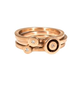 Stacking Dot Rings with White Diamonds in 18k Rose Gold