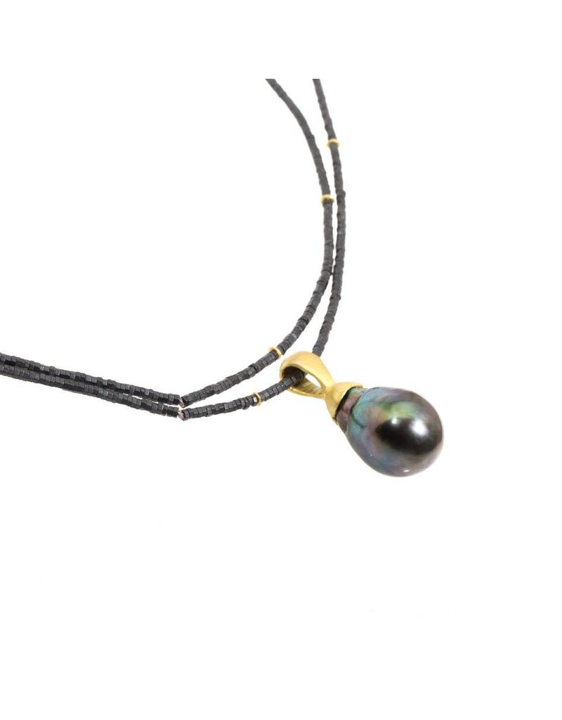 Tahitian Baroque Pearl Pendant on Hematite Bead Chain with 18k Yellow Gold