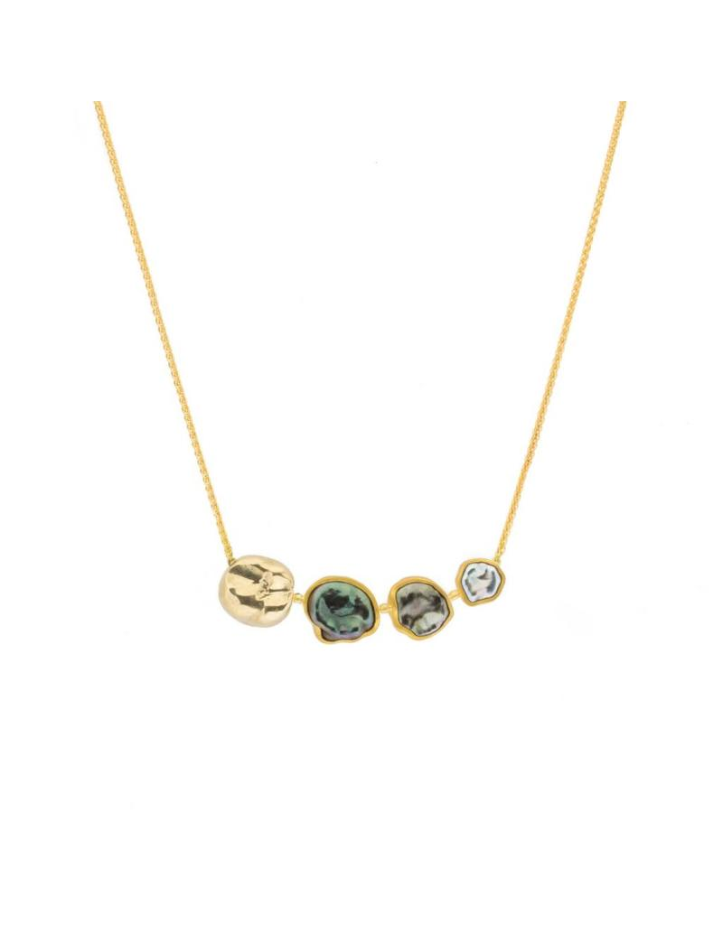 Smile Necklace in 18k and 22k Gold with Keshi Pearls