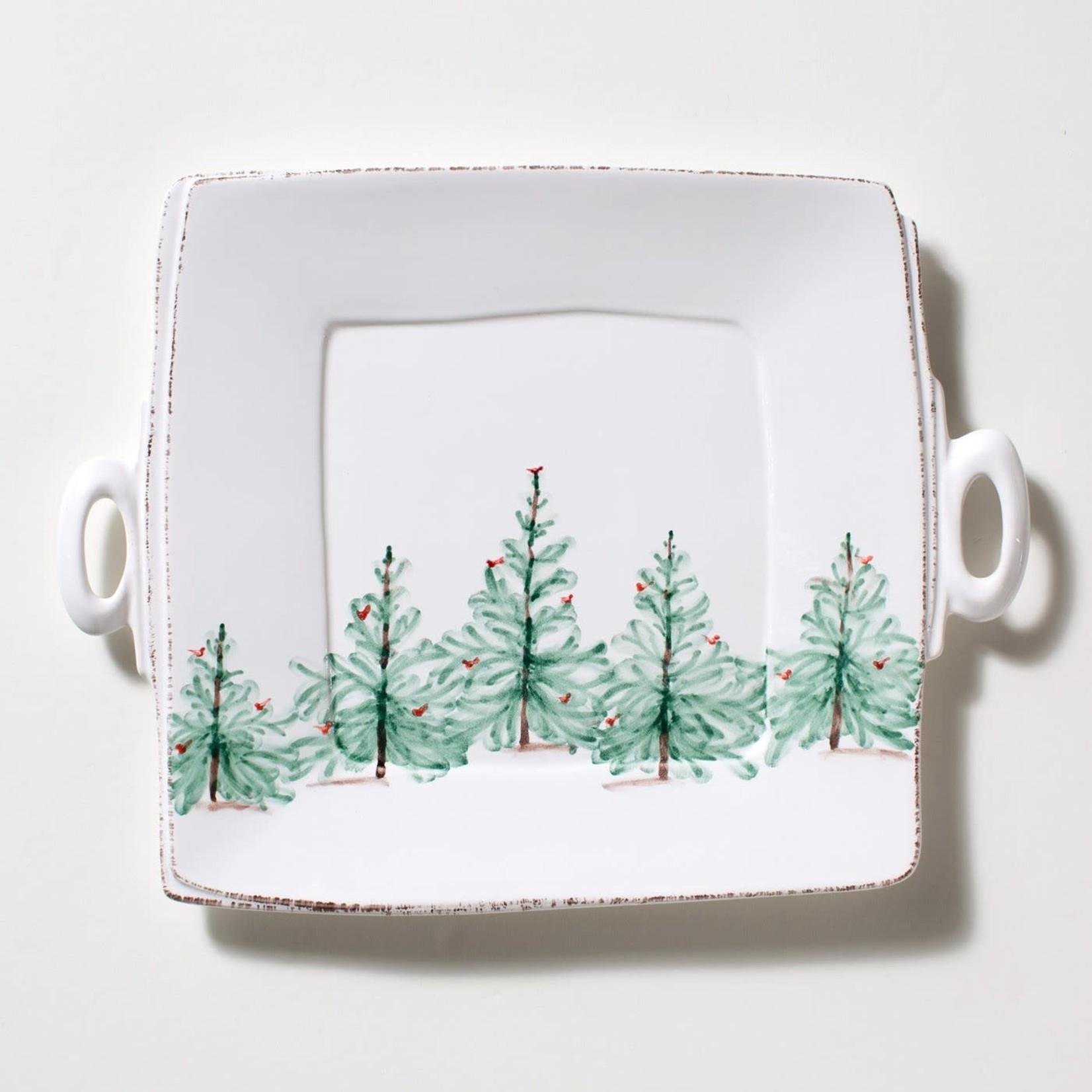 Lastra Holiday Square Platter Handled