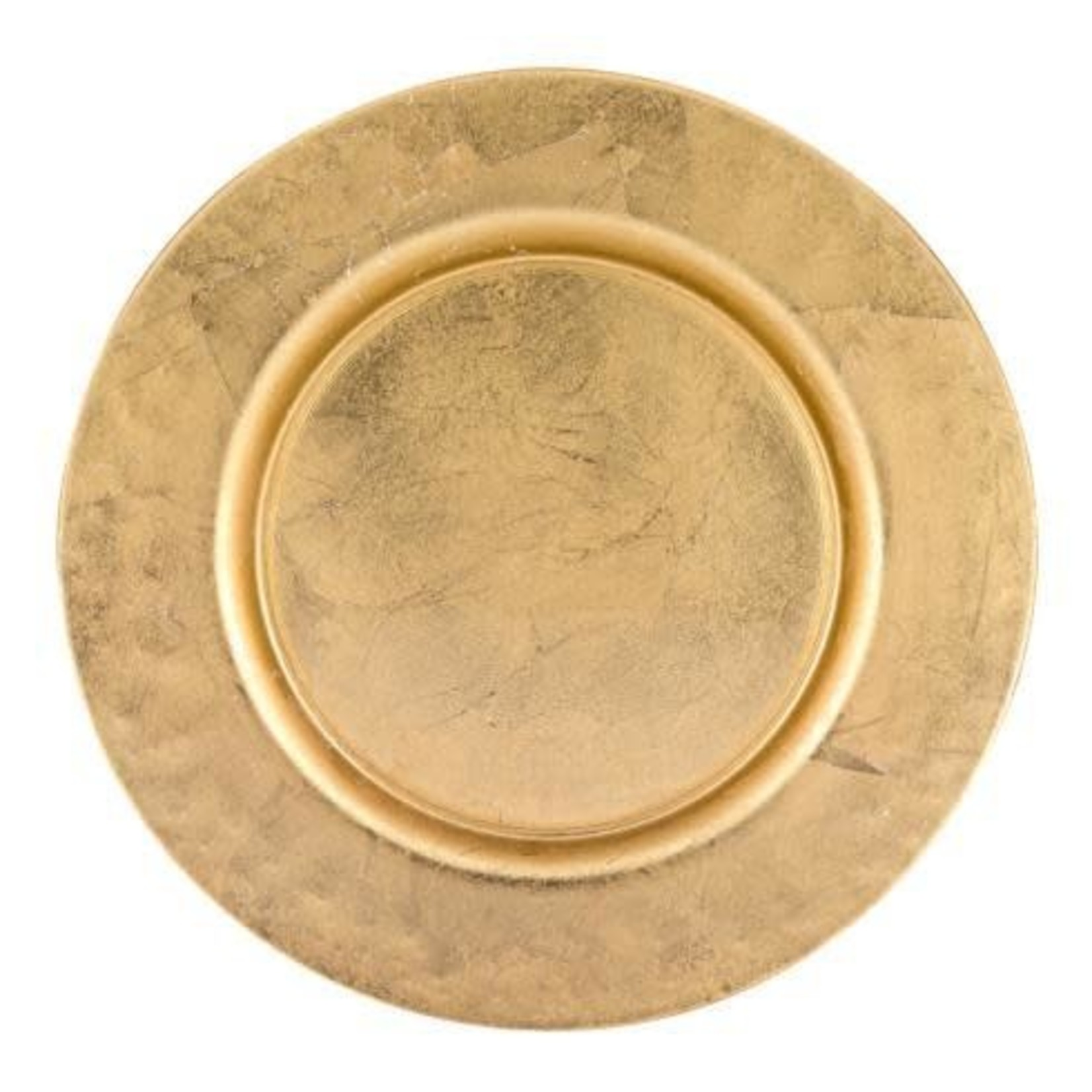 """Glamour Gold 13"""" Handmade Glass Charger with Gold Rim Finish"""