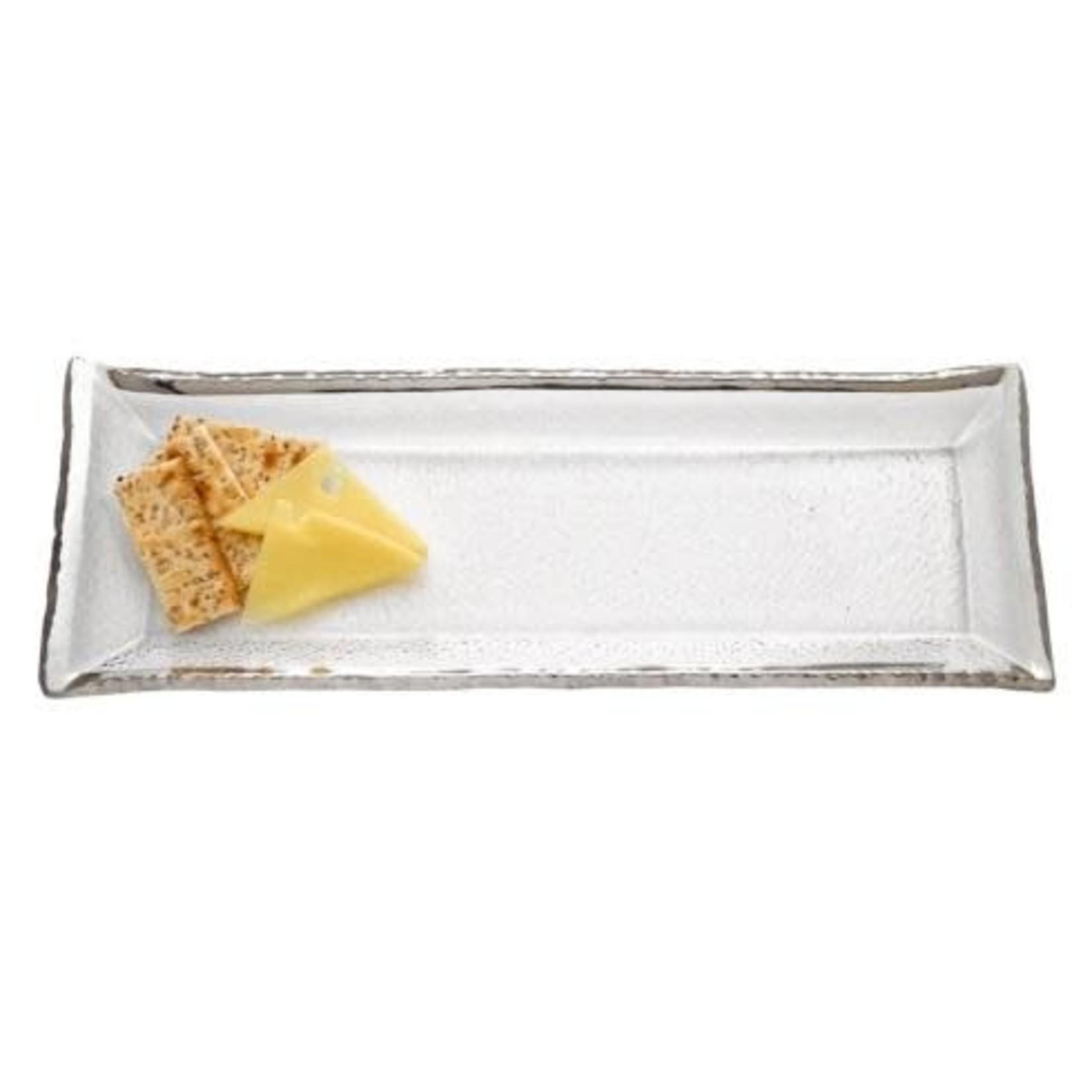 Badash Goldedge & Silveredge Serve Ware Rectangular Glass 18 X 6.5