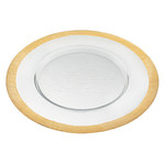"""Gold Border Round 13 """" Glass Charger Plate"""