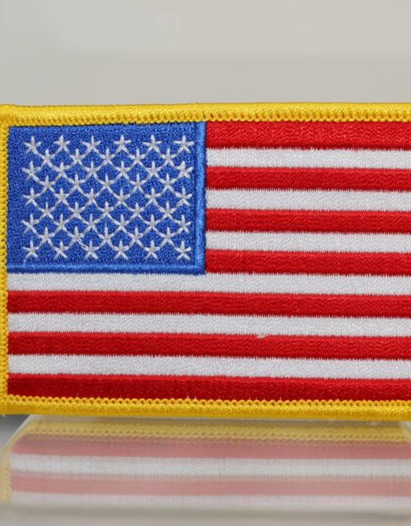 "American Flag with Gold Trim 2.5 x 3.5"" Patch"