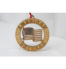 Veteran with US Flag Ornament