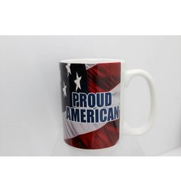Proud American with Flag 15oz Mug