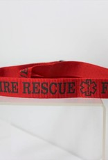 Fire Rescue with Logos Silk Screen in Black Print on Removable Clasp Red Lanyard