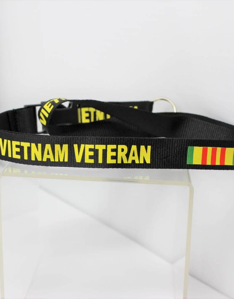 Vietnam Veteran with Campaign Ribbon Silk Screen in Yellow Print on Removable Clasp Black Lanyard