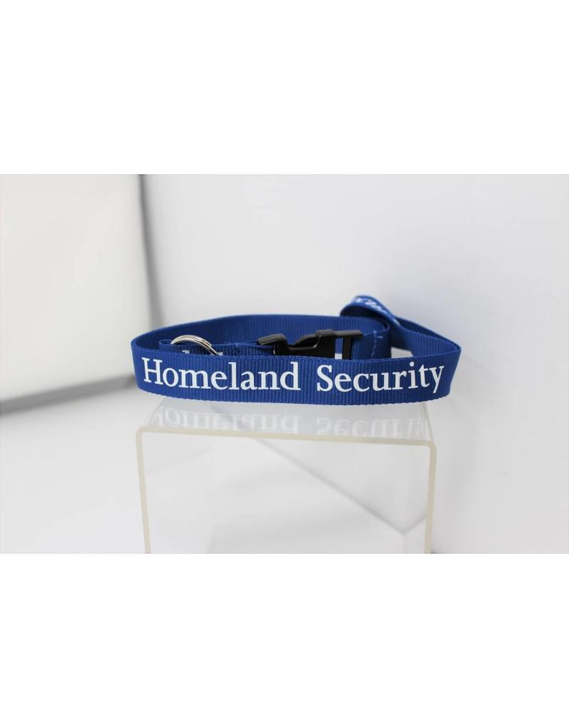 Homeland Security Silk Screen in White Print on Removable Clasp Blue Lanyard