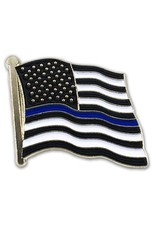 "Thin Blue Line Flag on 1"" Lapel Pin"