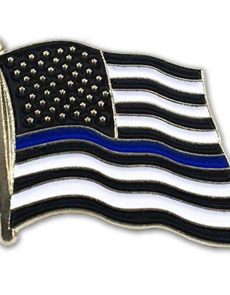 "Thin Blue Line Flag on 1"" Lapel Pin"