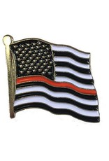 """Thin Red Line Flag on 1"""" Lapel Pin"""