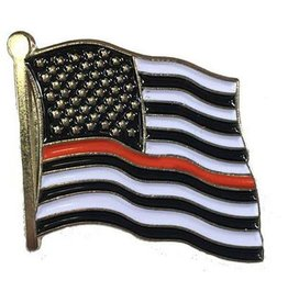 "Thin Red Line Flag on 1"" Lapel Pin"