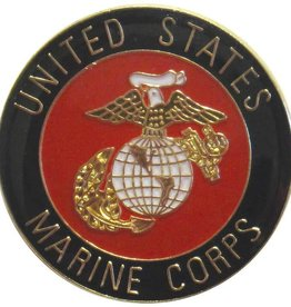 "DISCONTINUEDUnited States Marine Corps with Marine Corps Crest on 1"" Round Lapel Pin"