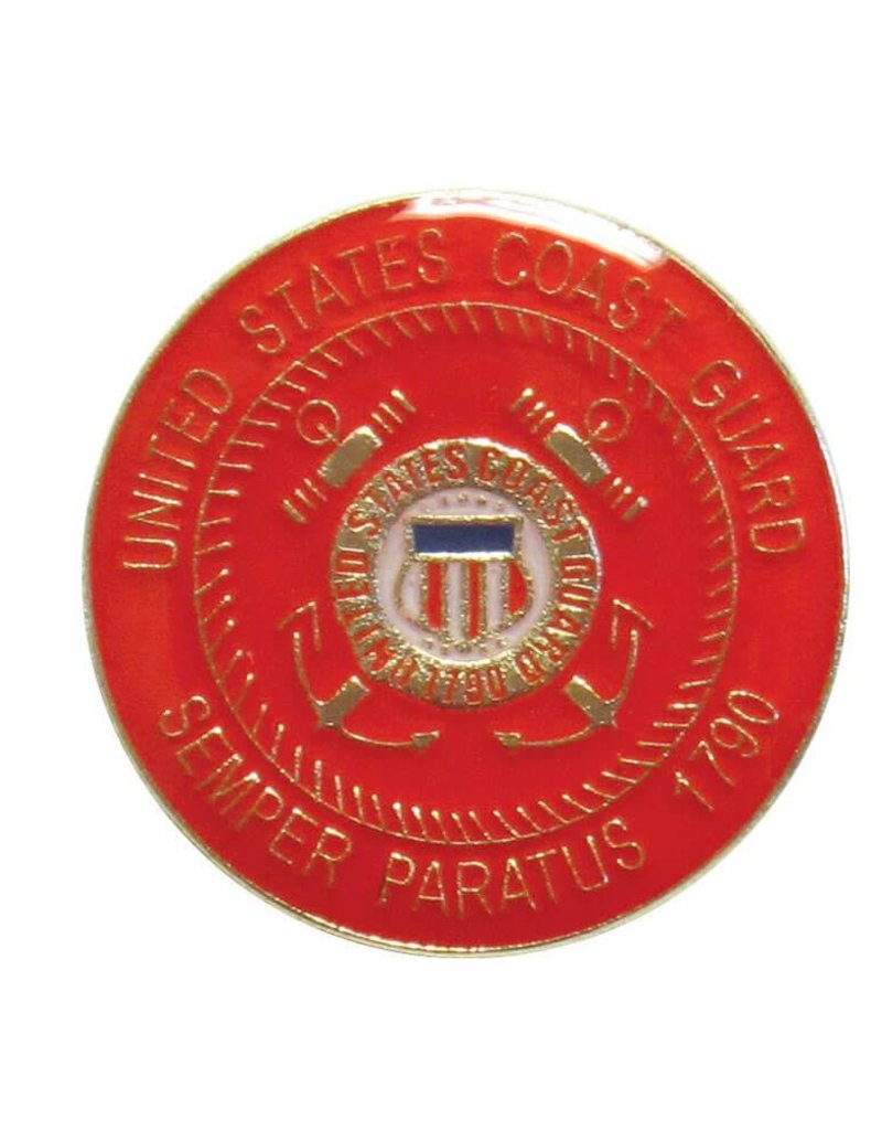 "Coast Guard Crest on 1"" Round Lapel Pin"