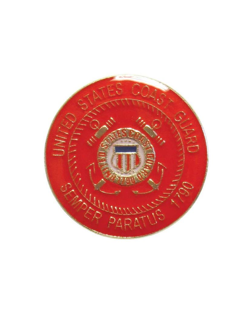 "Coast Guard Crest on 1"" Round Lapel Pin"