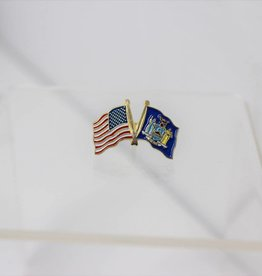 "American and New York State Crossed Flags on 1"" Lapel Pin"