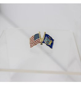 """American and New York State Crossed Flags on 1"""" Lapel Pin"""