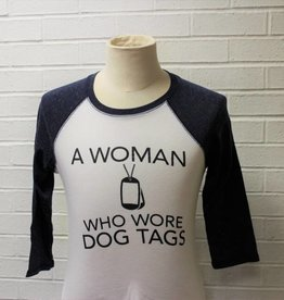 A Woman Who Wore Dog Tags Raglan Baseball Shirt