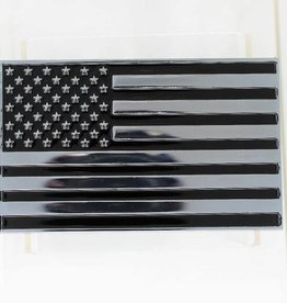 US Flag Chrome Plated Metal Auto Emblem 2.5''x4''