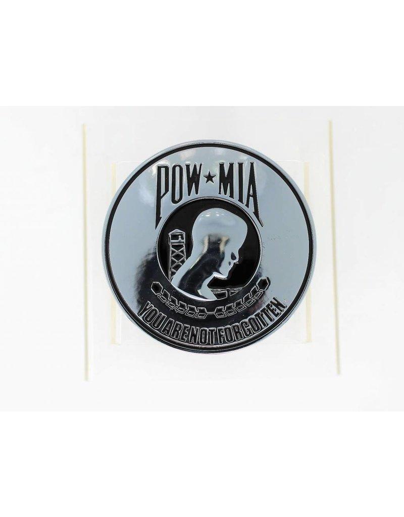 POW/MIA Chrome Plated Metal Auto Emblem 3.5''