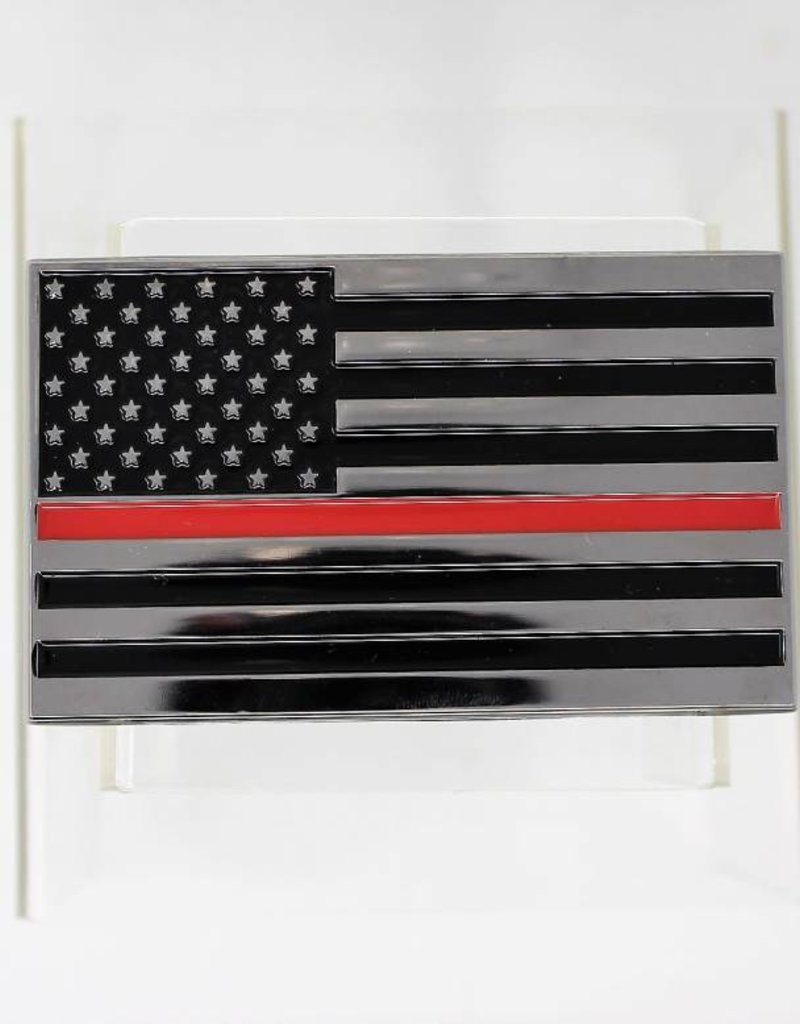 Thin Red Line Chrome Plated Metal Auto Emblem 2.5''x4''