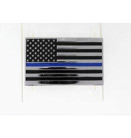 Thin Blue Line Flag Chrome Plated Metal Auto Emblem 2.5'' x 4''