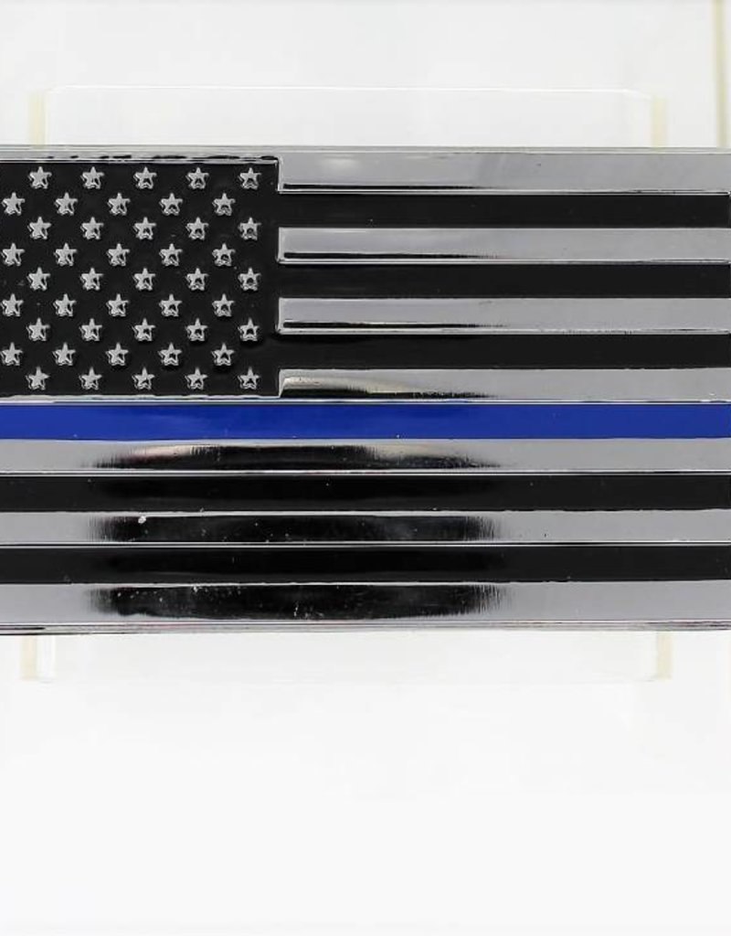 Thin Blue Line Flag Chrome Plated Metal Auto Emblem 2.5'' x 4''