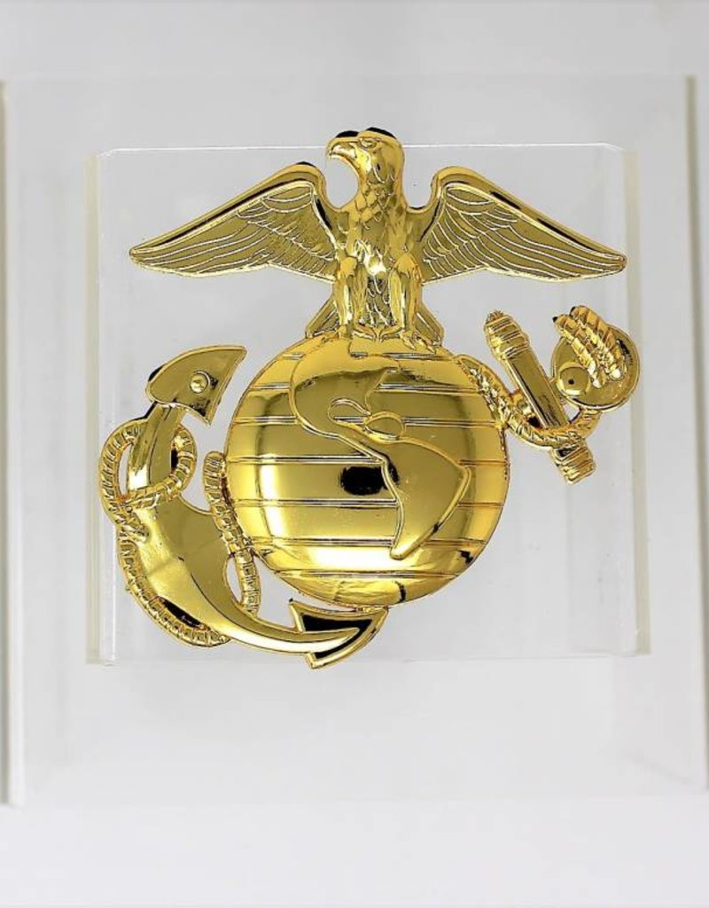 Marines EGA Gold Plated Metal Auto Emblem 3''