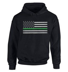 Thin Green Line Flag Hoodie Small