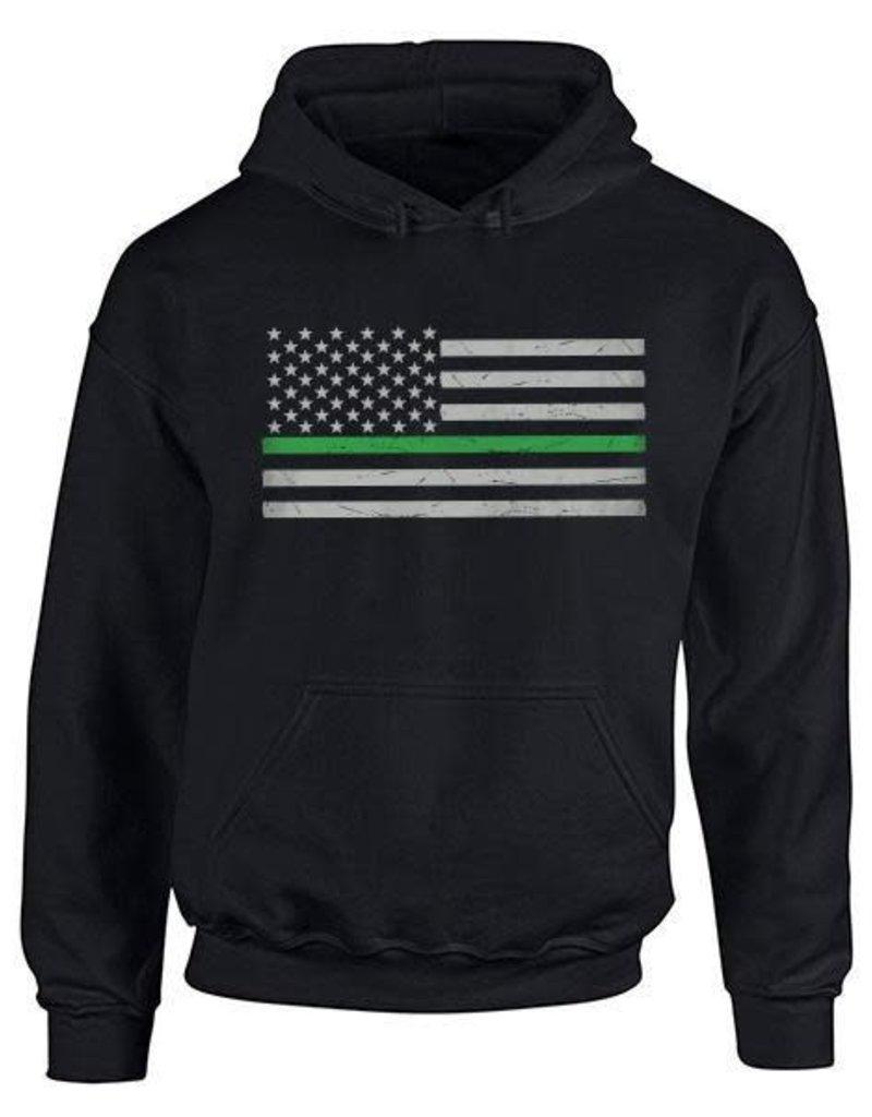 Thin Blue Line USA Thin Green Line Flag Hoodie Small