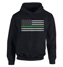 Thin Blue Line USA Thin Green Line Flag Hoodie Med