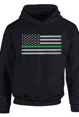 Thin Blue Line USA Thin Green Line Flag Hoodie Large