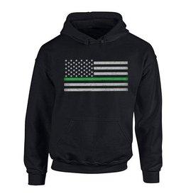 Thin Blue Line USA Thin Green Line Flag Hoodie Large