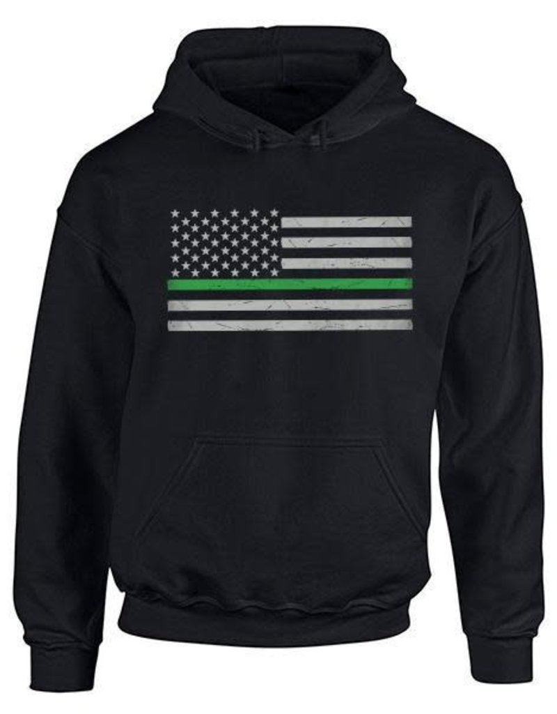 Thin Blue Line USA Thin Green Line Flag Hoodie XL