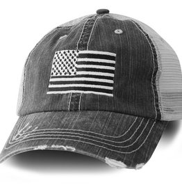 USA Flag Mesh Baseball Cap Black