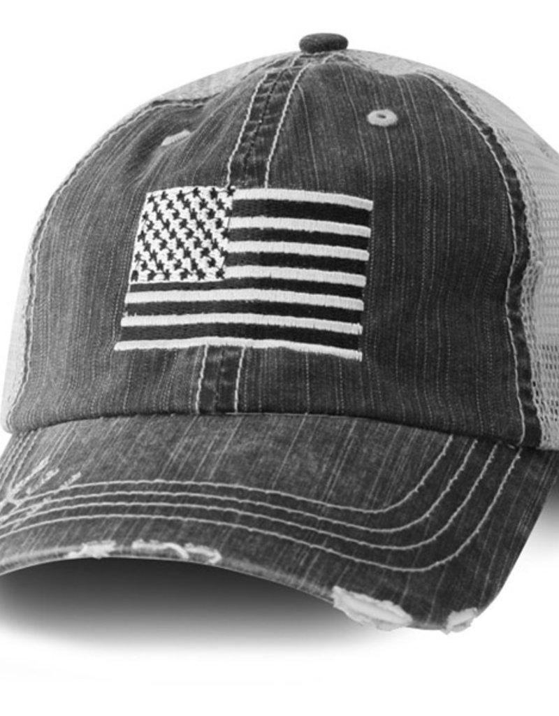 USA Flag Mesh Baseball Cap Black