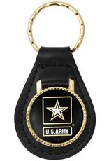 Army Black Star Leather Key FOB